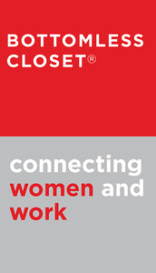 Shipping label to Bottomless Closet - accepts new and gently worn women's professional clothing, shoes, and accessories.