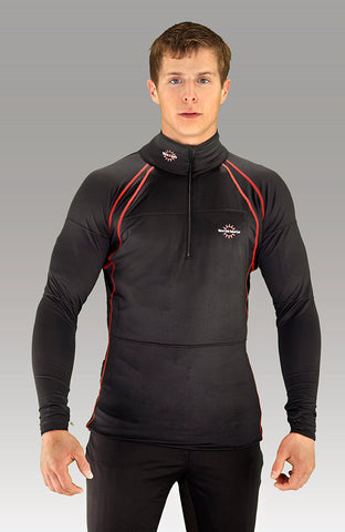 Men's Heated-Neck Long Sleeve Heat Layer - Black