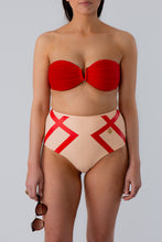 Load image into Gallery viewer, Adele Highwaist Bikini Bottom Delicate Red