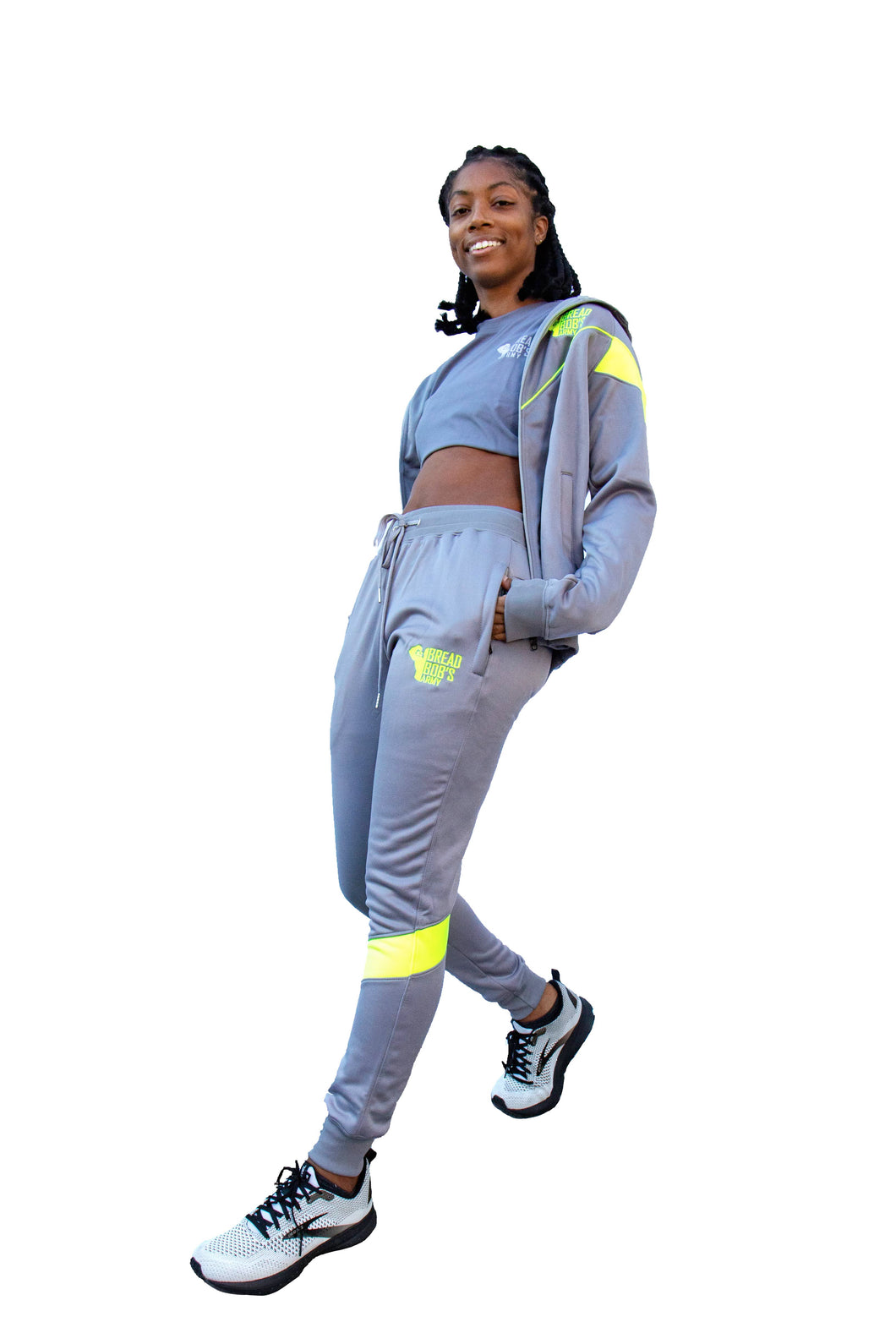 Grey and lime green BBA Joggers