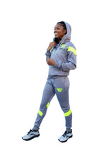 Load image into Gallery viewer, Grey and lime green BBA Joggers