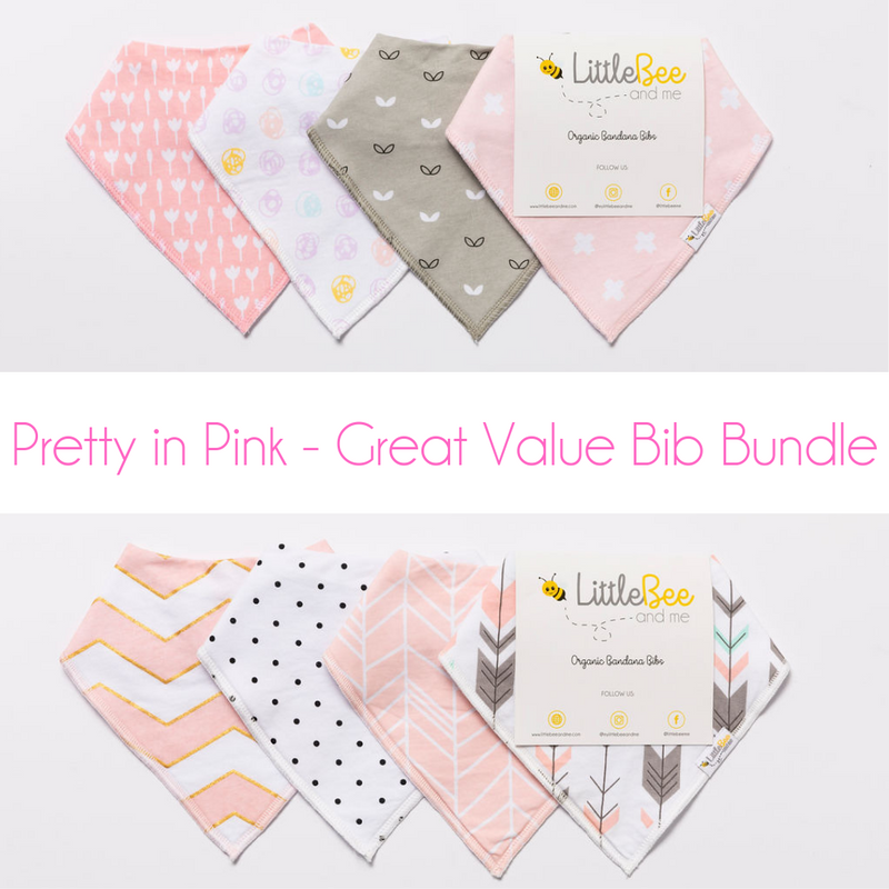 Pretty in Pink Bib Bundle - Two Bib Sets for $39.95 - Little Bee & Me