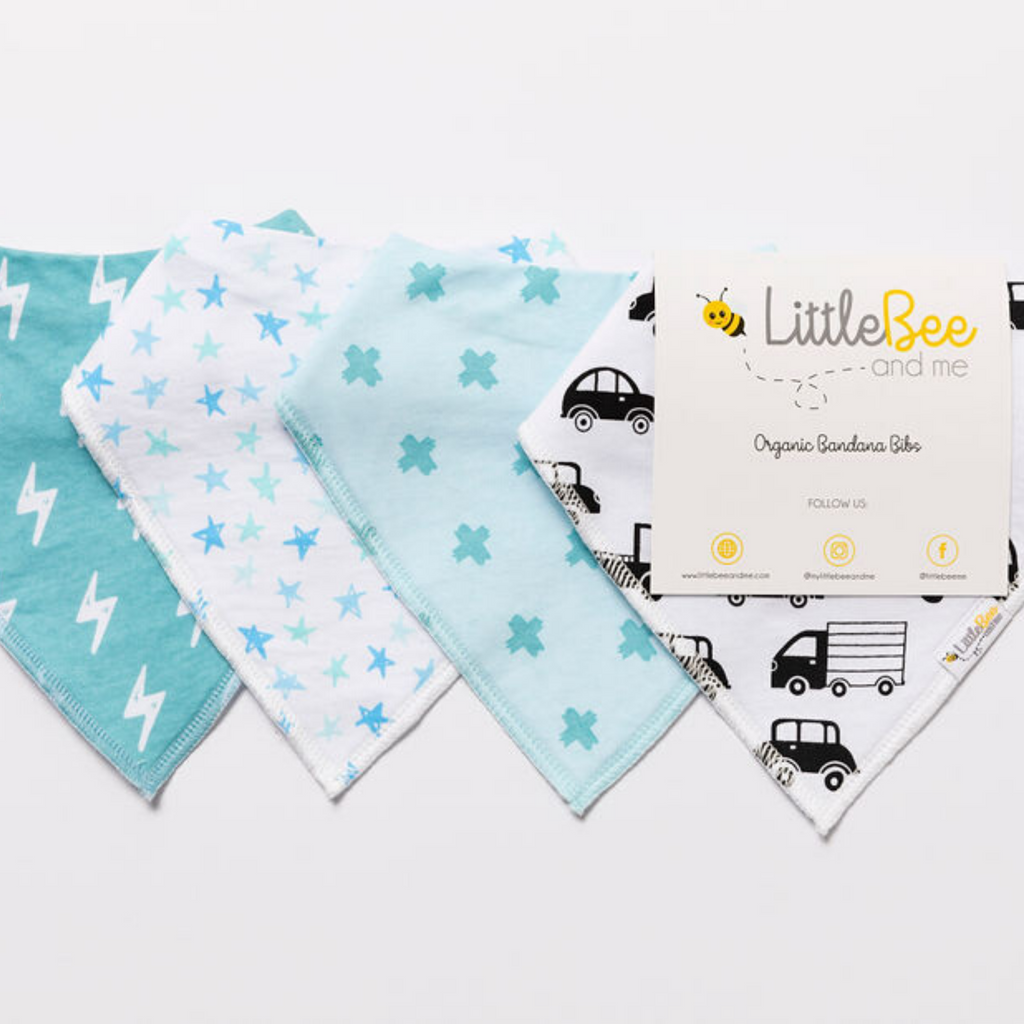 Stars & Cars Bandana Bibs - Set of Four - Little Bee & Me