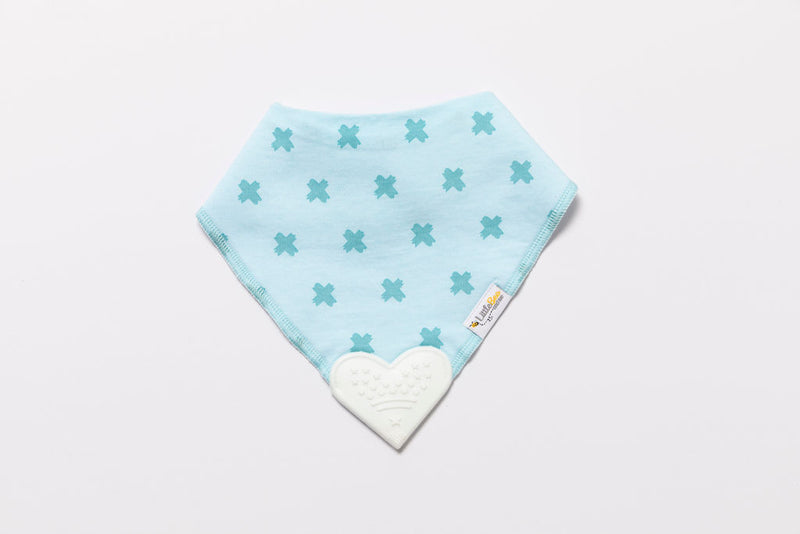Organic Bandana Chew Bib - Blue Kisses - Little Bee & Me