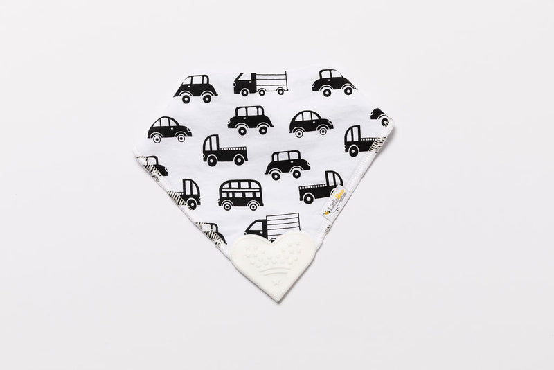 Organic Bandana Chew Bib - Monochrome Cars - Little Bee & Me