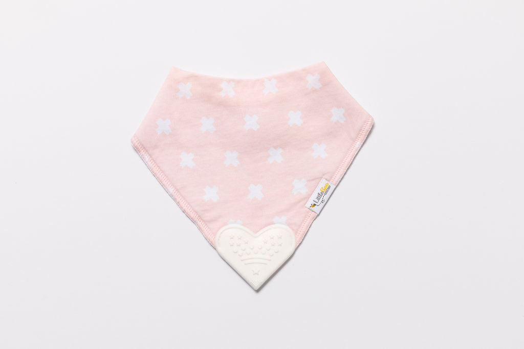 Organic Bandana Chew Bib - Pink Kisses - Little Bee & Me
