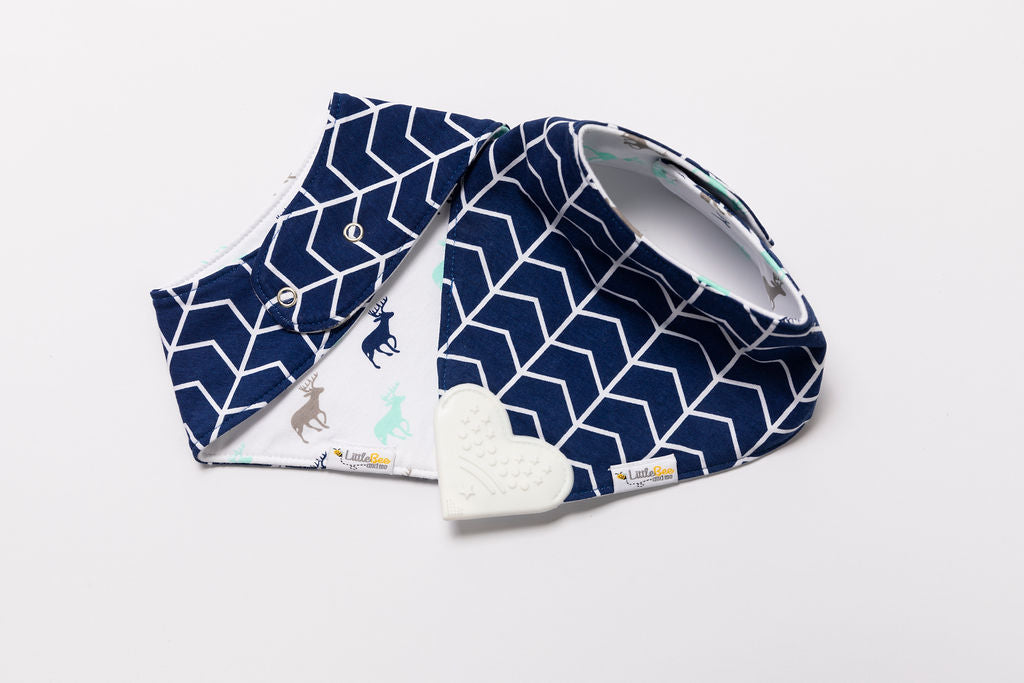 Organic Chew Reversible Bib Bee - Navy Deers - Little Bee & Me