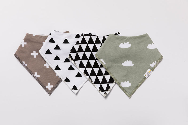 Shades of Monochrome Bandana Bibs - Set of Four - Little Bee & Me