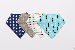 Arrows & Triangles Bandana Bibs - Set of Four - Little Bee & Me