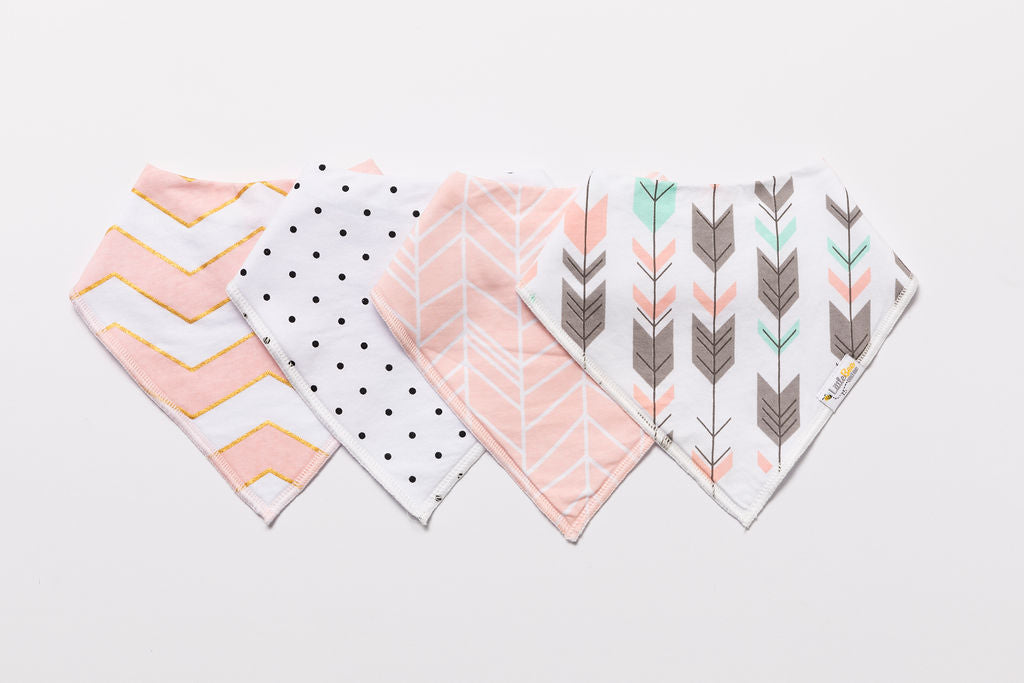 Pink Blush Bandana Bibs - Set of Four - Little Bee & Me