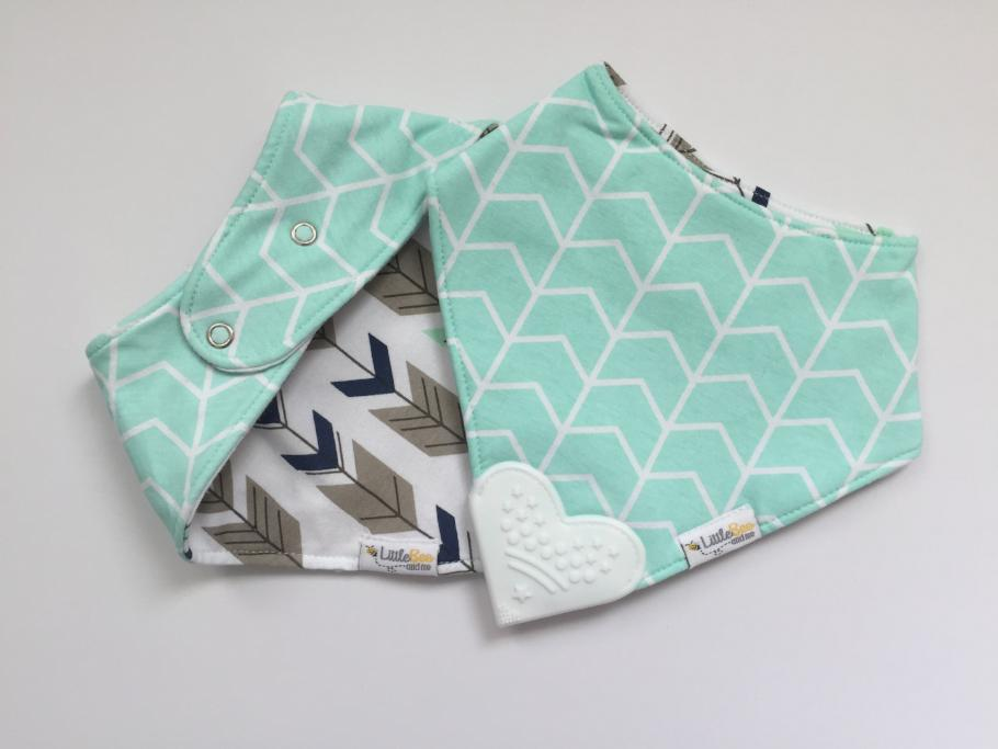 Organic Chew Reversible Bib Bee - Mint & Arrows - Little Bee & Me