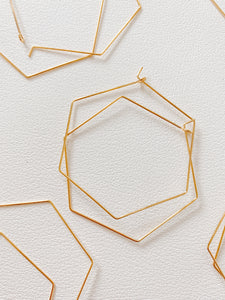 Gold plated Hex hoops