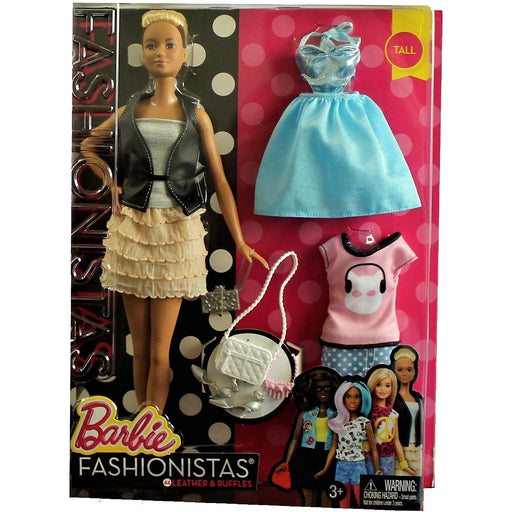 Barbie Fashionistas Doll and Fashion - #44 Leather & Ruffles Tall Doll, [product_type], Mattel - ToyShnip