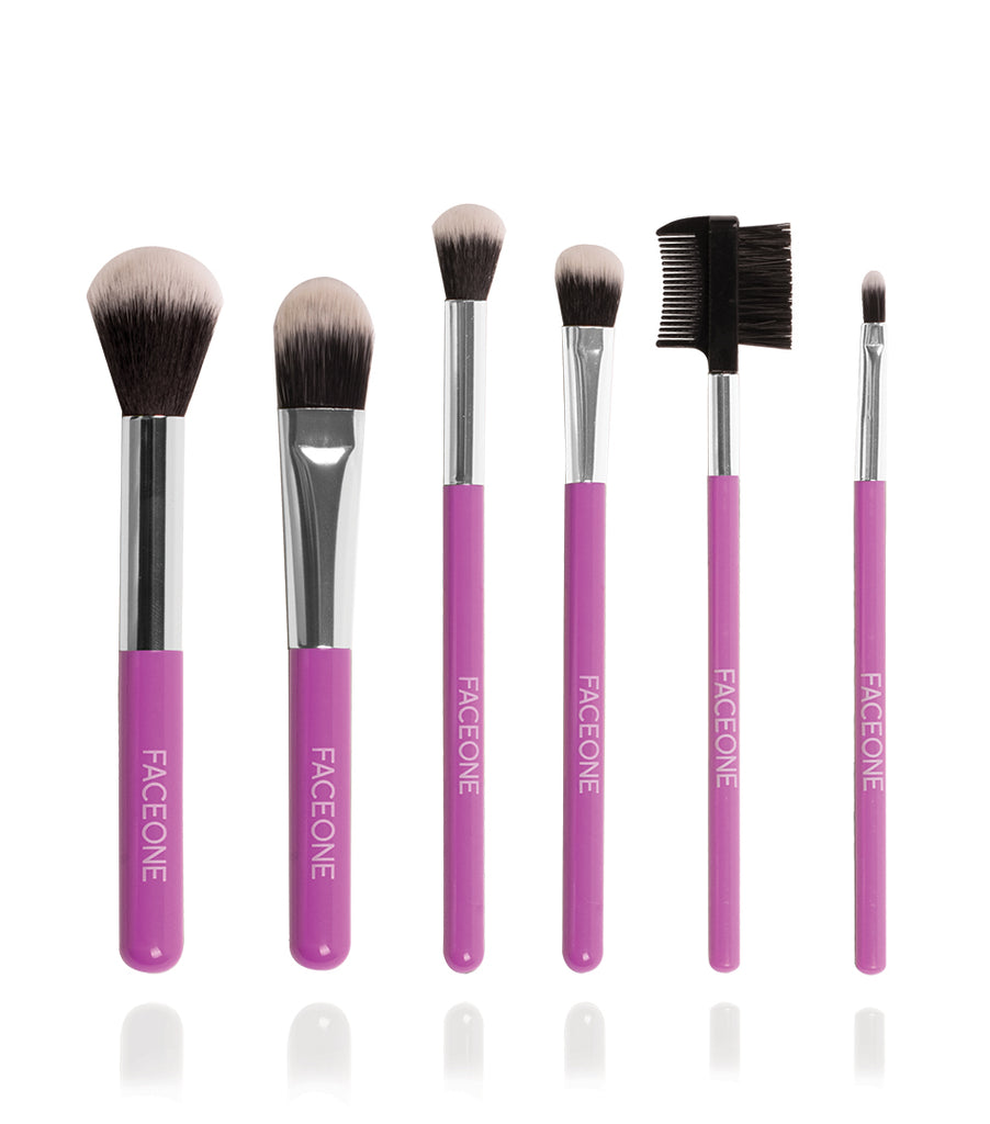 7 Piece Make Up Brush Set with Bag - Purple