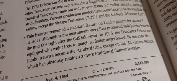 Text from the History of Fender Book detailing fret sizes