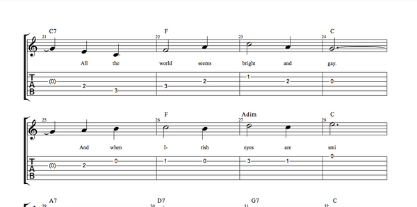 Tablature example