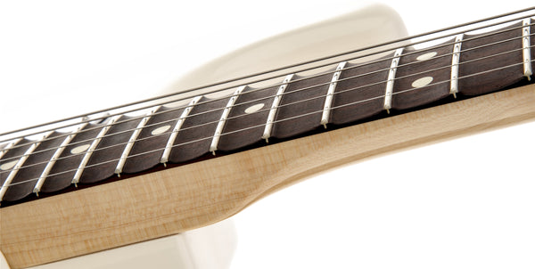 The scalloped rosewood fingerboard on the Ritchie Blackmore Stratocaster