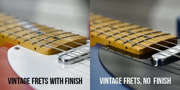 A finished fingerboard vs an unfinished fingerboard with the same sized fret