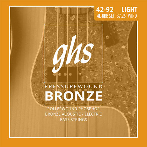 GHS Pressure Wound Bronze Acoustic Bass Strings 4L-RBB