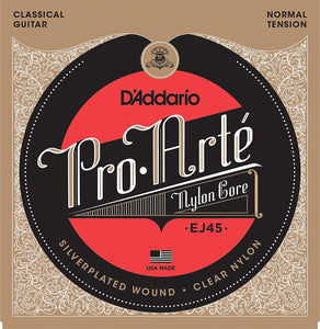 D'Addario EJ45 Pro-Arté Nylon Normal Tension Classical Guitar Strings | The  Music Gallery | Package Front