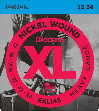 D'Addario Heavy .012-.054 EXL145 Nickel Wound Electric Guiar Strings | The Music Gallery | Front Package