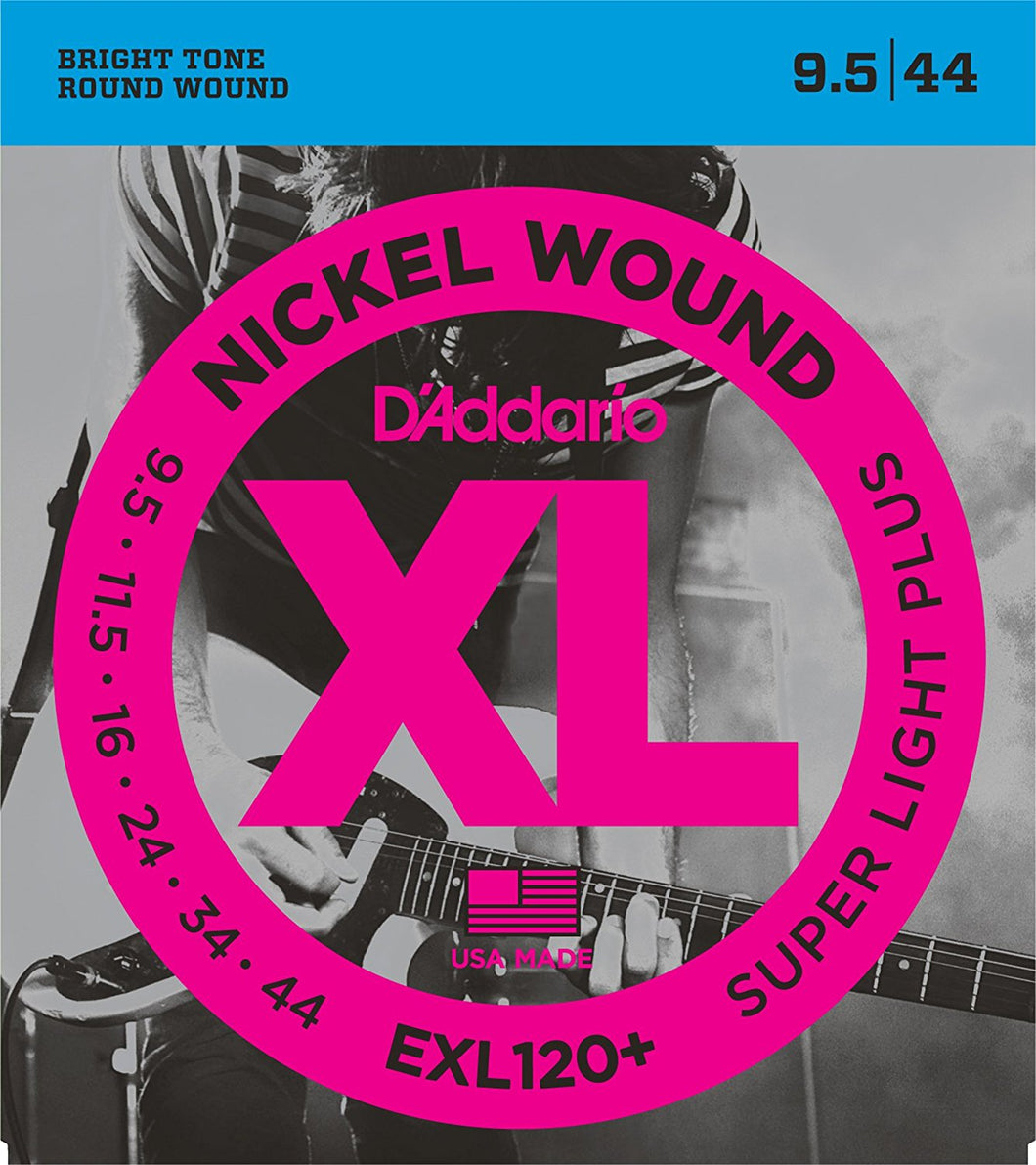 D'Addario Super Light Plus .0095-.044 EXL120+ Nickel Wound Electric Guitar Strings | The  Music Gallery