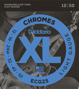 D'Addario Flat Wound Light .012-.052 ECG25 Chromes Electric Guitar Strings