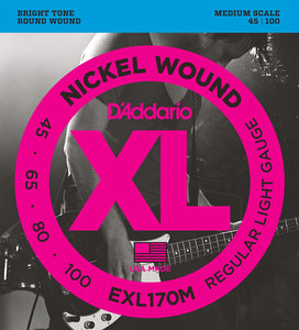 D'Addario EXL170M Nickel Wound Light Medium Scale Bass Strings .045-.100 | The  Music Gallery