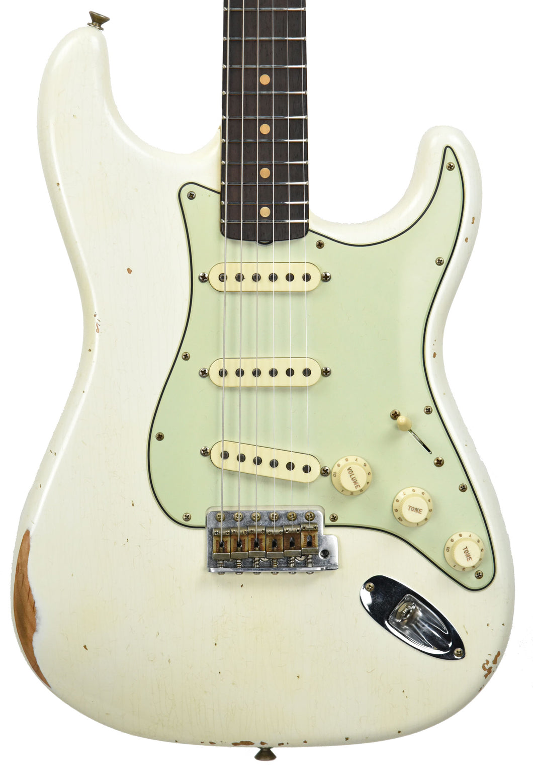 Fender Custom Shop 2016 NAMM 64 Strat Relic Aged Olympic White CZ537023 Front Close