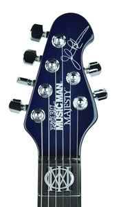 Music Man Majesty Monarch in Imperial Blue | Headstock Front