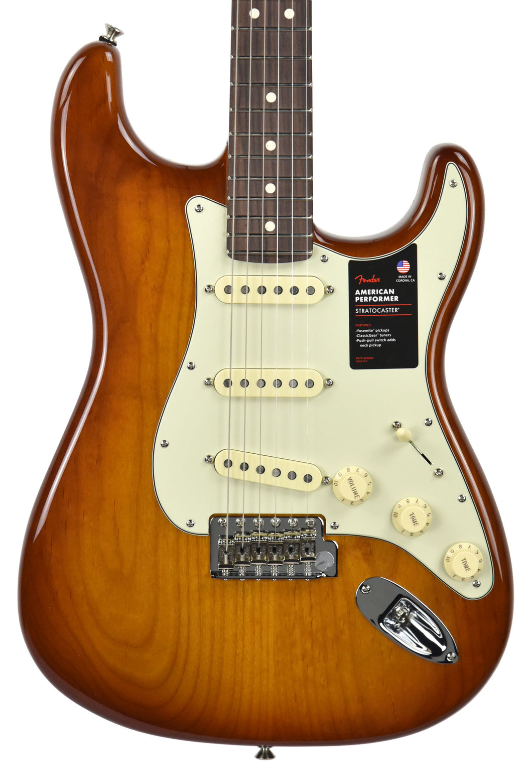 Fender American Performer Stratocaster in Honey Burst US19034466 | The Music Gallery | Front Close