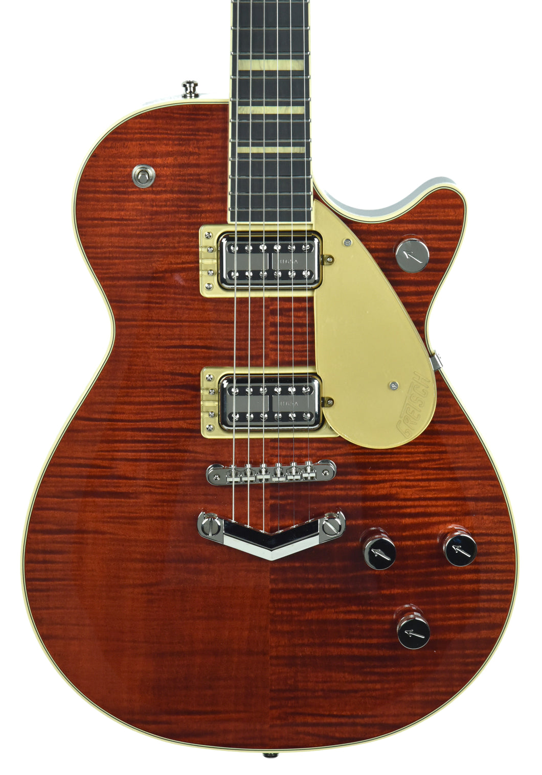 Gretsch G6228FM Players Edition Jet BT w/ V-Stoptail in Flame Maple Bourbon Stain - Front