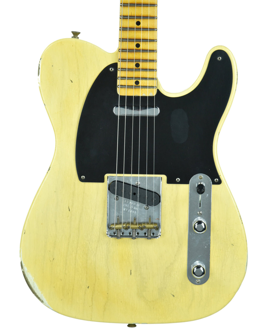 Fender Custom Shop 1 Piece Ash 50s Telecaster Relic Faded Nocaster Blonde - Front