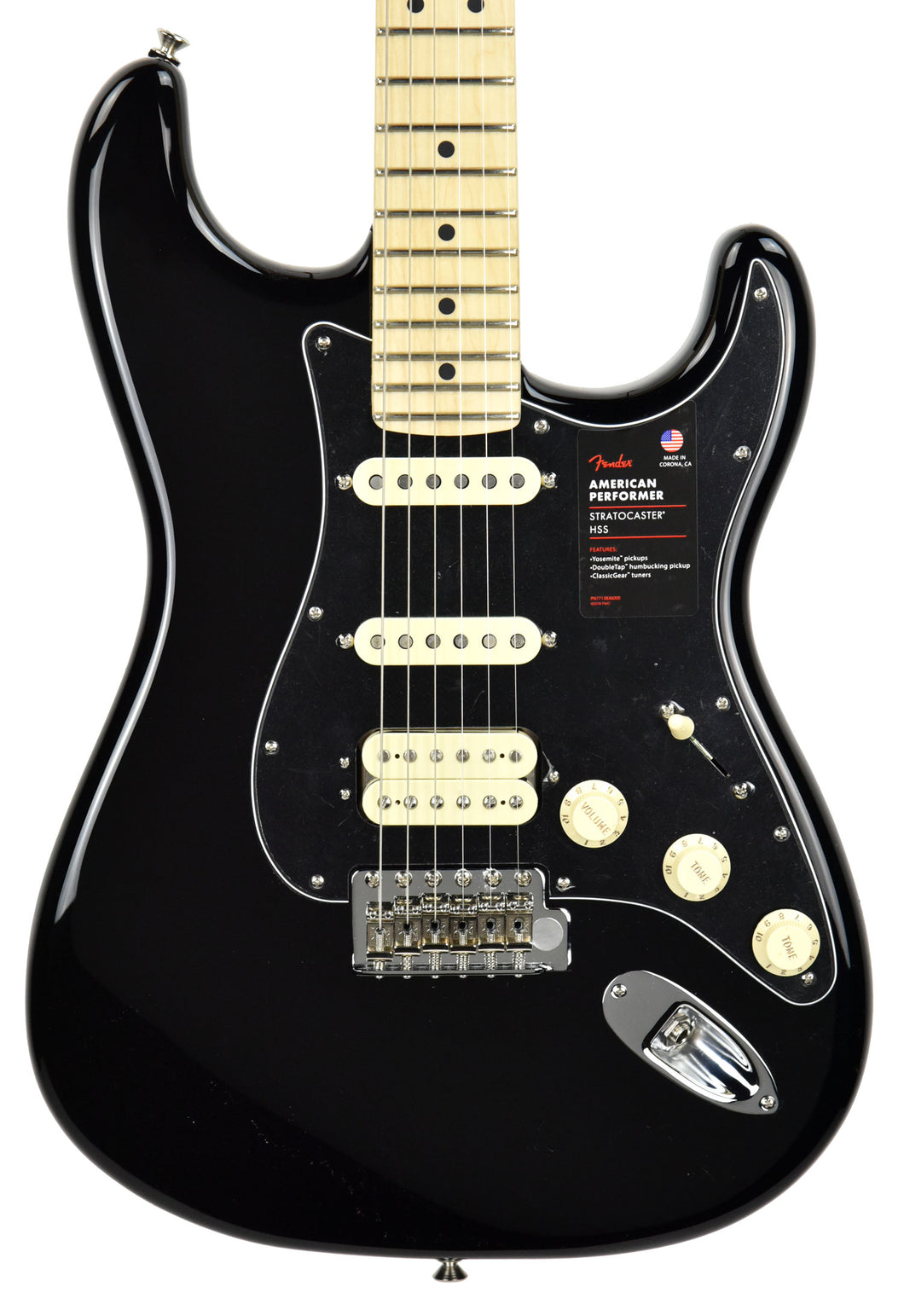 Fender American Performer Stratocaster HSS in Black US19046592 - The Music Gallery