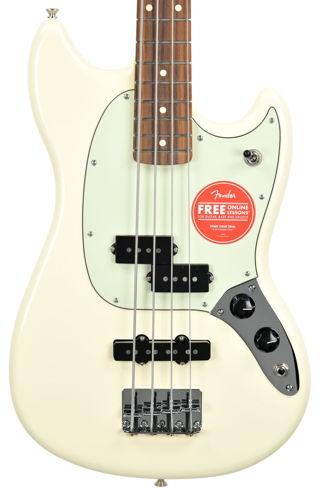 Fender Mustang Bass in Olympic White MX19059772 - The Music Gallery