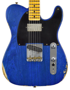 Fender Custom Shop 52 HS Telecaster Relic in Cobalt Blues Trans R99434 | The Music Gallery | Front Close