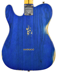 Fender Custom Shop 52 HS Telecaster Relic in Cobalt Blues Trans R99434 | The Music Gallery | Back Close