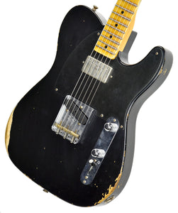 Fender Custom Shop 52 HS Telecaster Relic in Black R99020 | The Music Gallery | Front Angle 2