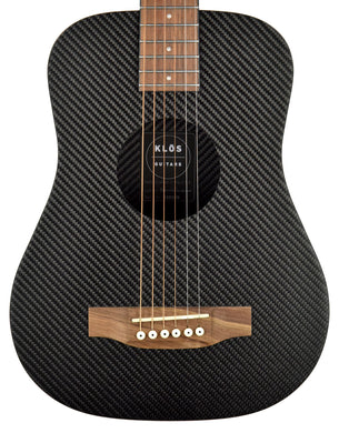 Klos Hybrid Carbon Fiber Acoustic Electric Travel Guitar in Black 155025 | The Music Gallery | Front Close
