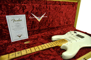 Fender Custom Shop 1956 Stratocaster Relic Masterbuilt by Carlos Lopez in Aged Olympic White CZ544468 - The Music Gallery