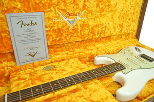 Fender Custom Shop 63 Stratocaster Journeyman Relic in Olympic White R104214 - The Music Gallery