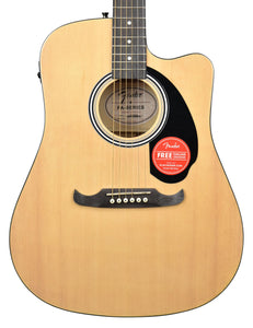Fender 125CE Dreadnought Acoustic Guitar in Natural CFFE1806860 Front Close