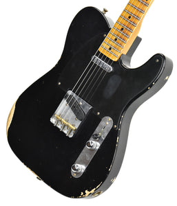 Fender Custom Shop 1 Piece Ash 50s Telecaster Relic in Black R98090 - The Music Gallery