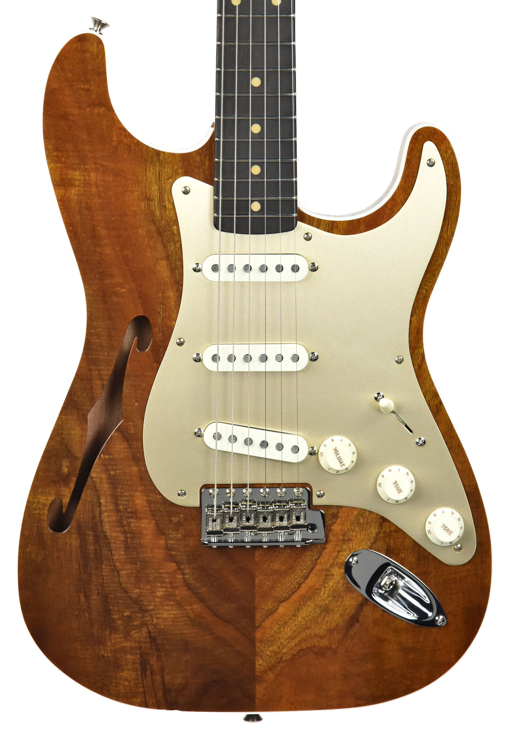 Fender Custom Shop Artisan Thinline Stratocaster Figured Koa CZ538324 | The Music Gallery | Front Close