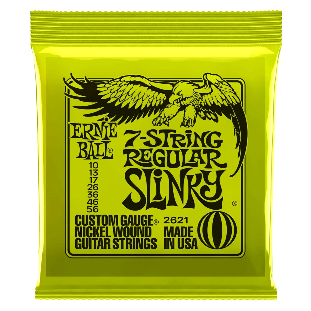 Ernie Ball 7-String Regular Slinky .010-.056 2621 Nickel Wound Electric Strings - The Music Gallery