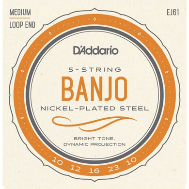 D'Addario EJ61 Nickel Plated Steel Medium Gauge 5-String Banjo Strings .010-.023 | The  Music Gallery