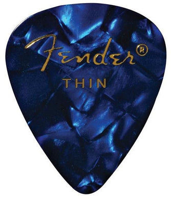 Fender® 351 Shape Premium Celluloid Paicks - Thin Blue Moto 12-pack