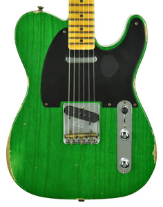 Fender Custom Shop 50s Telecaster Relic 1 Piece Ash Emerald Green Transparent R104550 - The Music Gallery