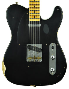 Fender Custom Shop 50s Telecaster Relic 1 Piece Ash in Black R105784 - The Music Gallery