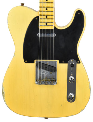 Fender Custom Shop 50s Telecaster Relic 1 Piece Ash in Nocaster Blonde R108699 - The Music Gallery